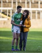 12 November 2017; Man of the Match Éanna O'Connor is congratulated by his mother Bridie after the AIB Leinster GAA Football Senior Club Championship Quarter-Final match between Portlaoise and Moorefield at O'Moore Park in Portlaoise, Laois. Photo by Daire Brennan/Sportsfile