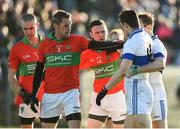 12 November 2017; Damien Power and Leighton Glynn of Rathnew with Diarmuid Connolly and Gavin Burke of St Vincent's during the AIB Leinster GAA Football Senior Club Championship Quarter-Final match between Rathnew and St Vincent's at Joule Park in Aughrim, Wicklow. Photo by Matt Browne/Sportsfile