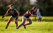 12 November 2017; Emma Reaney of Galway in action against Claire Flatley of Mayo during the All Ireland U21 Ladies Football Final match between Mayo and Galway at St. Croans GAA Club in Keelty, Roscommon. Photo by Sam Barnes/Sportsfile