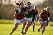 12 November 2017; Nicola Ward of Galway in action against Claire Flatley of Mayo during the All Ireland U21 Ladies Football Final match between Mayo and Galway at St. Croans GAA Club in Keelty, Roscommon. Photo by Sam Barnes/Sportsfile