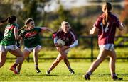 12 November 2017; Megan Glynn of Galway in action against Elaine Needham of Mayo during the All Ireland U21 Ladies Football Final match between Mayo and Galway at St. Croans GAA Club in Keelty, Roscommon. Photo by Sam Barnes/Sportsfile