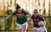 12 November 2017; Chloe Crowe of Galway in action against Emma Needham of Mayo during the All Ireland U21 Ladies Football Final match between Mayo and Galway at St. Croans GAA Club in Keelty, Roscommon. Photo by Sam Barnes/Sportsfile