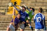 12 November 2017; Stephen McGullion of Derrygonnelly Harps in action against Niall Murray and CIaran Flynn of Cavan Gaels during the AIB Ulster GAA Football Senior Club Championship Semi-Final match between Cavan Gaels and Derrygonnelly Harps at St Tiernach's Park in Clones, Monaghan. Photo by Oliver McVeigh/Sportsfile
