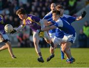 12 November 2017; Gary McKenna of Derrygonnelly Harps in action against Barry Fortune  of Cavan Gaels during the AIB Ulster GAA Football Senior Club Championship Semi-Final match between Cavan Gaels and Derrygonnelly Harps at St Tiernach's Park in Clones, Monaghan. Photo by Oliver McVeigh/Sportsfile