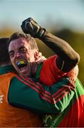 12 November 2017; Damien Power of Rathnew celebrates with backroom staff member Alan Clarke after the AIB Leinster GAA Football Senior Club Championship Quarter-Final match between Rathnew and St Vincent's at Joule Park in Aughrim, Wicklow. Photo by Matt Browne/Sportsfile