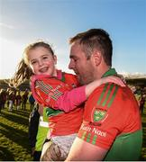 12 November 2017; Four year old Graciebelle gives her dad James Stafford of Rathnew a hug after he scored the winning goal against St Vincent's during the AIB Leinster GAA Football Senior Club Championship Quarter-Final match between Rathnew and St Vincent's at Joule Park in Aughrim, Wicklow. Photo by Matt Browne/Sportsfile