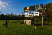 12 November 2017; Cousins Liam Cooper, aged 10, from Tralee, left, and Mikey Cooper, aged 6, from Milltown, Co. Kerry, play alongside the scoreboard during the AIB Munster GAA Football Senior Club Championship Semi-Final match between Dr Crokes and Kilmurry-Ibrickane at Dr. Crokes GAA pitch in Lewis Road, Killarney, Kerry. Photo by Diarmuid Greene/Sportsfile