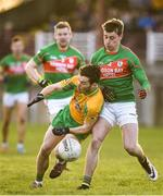 12 November 2017; Ian Burke of Corofin is tackled by Niall McInerney of St Brigid's during the AIB Connacht GAA Football Senior Club Championship Semi-Final match between Corofin and St Brigid's at Tuam Stadium in Tuam, Galway. Photo by Brendan Moran/Sportsfile