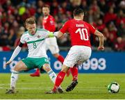 12 November 2017; Steven Davis of Northern Ireland in action against Granit Xhaka of Switzerland during the FIFA 2018 World Cup Qualifier Play-off 2nd leg match between Switzerland and Northern Ireland at St. Jakob's Park in Basel, Switzerland. Photo by Roberto Bregani/Sportsfile