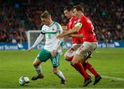 12 November 2017; Steven Davis of Northern Ireland in action against Blerim Dzemaili and Fabian Schaer of Switzerland during the FIFA 2018 World Cup Qualifier Play-off 2nd leg match between Switzerland and Northern Ireland at St. Jakob's Park in Basel, Switzerland. Photo by Roberto Bregani/Sportsfile