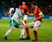 12 November 2017; Steven Davis of Northern Ireland in action against Stephan Lichtsteiner of Switzerland during the FIFA 2018 World Cup Qualifier Play-off 2nd leg match between Switzerland and Northern Ireland at St. Jakob's Park in Basel, Switzerland. Photo by Roberto Bregani/Sportsfile