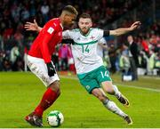 12 November 2017;  Stuart Dallas of Northern Ireland against Edimilson Fernandes of Switzerland during the FIFA 2018 World Cup Qualifier Play-off 2nd leg match between Switzerland and Northern Ireland at St. Jakob's Park in Basel, Switzerland. Photo by Roberto Bregani/Sportsfile