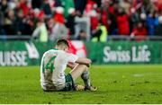 12 November 2017; Stuart Dallas of Northern Ireland dejected after the final whistle of the FIFA 2018 World Cup Qualifier Play-off 2nd leg match between Switzerland and Northern Ireland at St. Jakob's Park in Basel, Switzerland. Photo by Roberto Bregani/Sportsfile