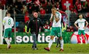 12 November 2017; Josh Magennis of Northern Ireland dejected after the final whistle of the FIFA 2018 World Cup Qualifier Play-off 2nd leg match between Switzerland and Northern Ireland at St. Jakob's Park in Basel, Switzerland.  Photo by Roberto Bregani/Sportsfile