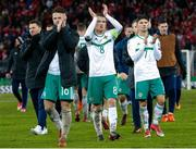 12 November 2017; Northern Ireland players, from left, Oliver Norwood, Steven Davis and Jordan Jones dejected following the FIFA 2018 World Cup Qualifier Play-off 2nd leg match between Switzerland and Northern Ireland at St. Jakob's Park in Basel, Switzerland. Photo by Roberto Bregani/Sportsfile
