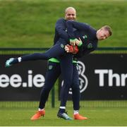 13 November 2017; Darren Randolph and James McClean, right, during Republic of Ireland squad training at the FAI National Training Centre in Abbotstown in Dublin. Photo by Stephen McCarthy/Sportsfile