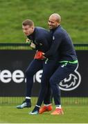 13 November 2017; James McClean, left, and Darren Randolph during Republic of Ireland squad training at the FAI National Training Centre in Abbotstown, Dublin. Photo by Stephen McCarthy/Sportsfile