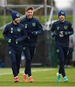 13 November 2017; Republic of Ireland players, from left, Wes Hoolahan, Jeff Hendrick and Harry Arter during squad training at the FAI National Training Centre in Abbotstown, Dublin. Photo by Stephen McCarthy/Sportsfile