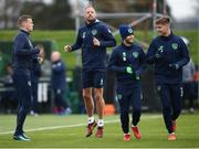 13 November 2017; Republic of Ireland players, from left, James McClean, David Meyler, Wes Hoolahan and Jeff Hendrick during squad training at the FAI National Training Centre in Abbotstown, Dublin. Photo by Stephen McCarthy/Sportsfile