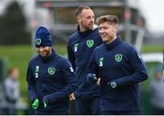 13 November 2017; Republic of Ireland players, from left,  Wes Hoolahan, David Meyler and Jeff Hendrick during squad training at the FAI National Training Centre in Abbotstown, Dublin. Photo by Stephen McCarthy/Sportsfile