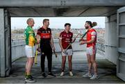 13 November 2017; Hurlers from left, Peter Healion of Kilcormac - Killoughey, Edward Byrne of Mount Leinster Rangers, Rory O'Connor of St Martin's, and Shane Stapleton of Cuala during AIB Leinster Club Senior Hurling Championship Semi-Finals Media Day at Croke Park in Dublin. Photo by Piaras Ó Mídheach/Sportsfile