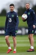 13 November 2017; Shane Long, left, and David Meyler during Republic of Ireland squad training at the FAI National Training Centre in Abbotstown, Dublin. Photo by Stephen McCarthy/Sportsfile