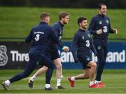 13 November 2017; Republic of Ireland players, from left, Aiden O'Brien, Eunan O'Kane, Shane Long and John O'Shea during squad training at the FAI National Training Centre in Abbotstown, Dublin. Photo by Stephen McCarthy/Sportsfile