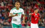 12 November 2017;  Josh Magennis of Northern Ireland during the FIFA 2018 World Cup Qualifier Play-off 2nd leg match between Switzerland and Northern Ireland at St. Jakob's Park in Basel, Switzerland. Photo by Roberto Bregani/Sportsfile