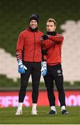 13 November 2017; Kasper Schmeichel, left, and Christian Eriksen during Denmark squad training at Aviva Stadium in Dublin. Photo by Stephen McCarthy/Sportsfile