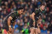 11 November 2017; Bundee Aki of Ireland with Robbie Henshaw, right, during the Guinness Series International match between Ireland and South Africa at the Aviva Stadium in Dublin. Photo by Brendan Moran/Sportsfile