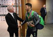 14 November 2017; Wes Hoolahan of Republic of Ireland is greeted by Alan Reddy on his arrival prior to the FIFA 2018 World Cup Qualifier Play-off 2nd leg match between Republic of Ireland and Denmark at Aviva Stadium in Dublin. Photo by Stephen McCarthy/Sportsfile