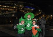 14 November 2017; Young supporters, from left, Fred Sage, age 12 from Kildare, Peter Grogan, age 12, from Laois and Tom Hay, age 12, from Dún Laoghaire get excited before the FIFA 2018 World Cup Qualifier Play-off 2nd leg match between Republic of Ireland and Denmark at Aviva Stadium in Dublin.Photo by Eóin Noonan/Sportsfile
