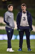14 November 2017; Seamus Coleman, left, and Republic of Republic of Ireland assistant manager Roy Keane prior to the FIFA 2018 World Cup Qualifier Play-off 2nd leg match between Republic of Ireland and Denmark at Aviva Stadium in Dublin.Photo by Seb Daly/Sportsfile