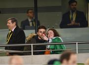 14 November 2017; Sean Maguire gets a selfie taken with a supporter prior to the FIFA 2018 World Cup Qualifier Play-off 2nd leg match between Republic of Ireland and Denmark at Aviva Stadium in Dublin. Photo by Ramsey Cardy/Sportsfile