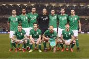 14 November 2017; The Republic of Ireland team, back row, from left to right, Robbie Brady, Cyrus Christie, Shane Duffy, Darren Randolph, Stephen Ward, Daryl Murphy and Ciaran Clark. Front row, from left to right, James McClean, Harry Arter, David Meyler and Jeff Hendrick prior to the FIFA 2018 World Cup Qualifier Play-off 2nd leg match between Republic of Ireland and Denmark at Aviva Stadium in Dublin. Photo by Stephen McCarthy/Sportsfile