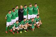 14 November 2017; The Republic of Ireland team, back row, from left to right, Robbie Brady, Cyrus Christie, Shane Duffy, Darren Randolph, Stephen Ward, Daryl Murphy and Ciaran Clark. Front row, from left to right, James McClean, Harry Arter, David Meyler and Jeff Hendrick prior to the FIFA 2018 World Cup Qualifier Play-off 2nd leg match between Republic of Ireland and Denmark at Aviva Stadium in Dublin. Photo by Brendan Moran/Sportsfile