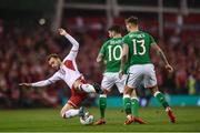14 November 2017; Christian Eriksen of Denmark is tackled by Robbie Brady of Republic of Ireland during the FIFA 2018 World Cup Qualifier Play-off 2nd leg match between Republic of Ireland and Denmark at Aviva Stadium in Dublin.Photo by Ramsey Cardy/Sportsfile
