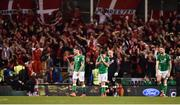 14 November 2017; Robbie Brady of Republic of Ireland, centre, reacts after Christian Eriksen of Denmark scored his side's third goal during the FIFA 2018 World Cup Qualifier Play-off 2nd leg match between Republic of Ireland and Denmark at Aviva Stadium in Dublin. Photo by Seb Daly/Sportsfile