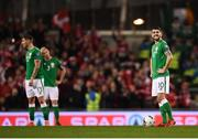 14 November 2017; Robbie Brady of Republic of Ireland reacts after Christian Eriksen of Denmark scored his side's third goal during the FIFA 2018 World Cup Qualifier Play-off 2nd leg match between Republic of Ireland and Denmark at Aviva Stadium in Dublin. Photo by Stephen McCarthy/Sportsfile