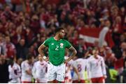 14 November 2017; Cyrus Christie of Republic of Ireland reacts after Christian Eriksen of Denmark scored his side's fourth goal during the FIFA 2018 World Cup Qualifier Play-off 2nd leg match between Republic of Ireland and Denmark at Aviva Stadium in Dublin. Photo by Stephen McCarthy/Sportsfile