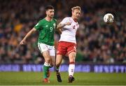 14 November 2017; Shane Long of Republic of Ireland in action against Simon Kjær of Denmark during the FIFA 2018 World Cup Qualifier Play-off 2nd leg match between Republic of Ireland and Denmark at Aviva Stadium in Dublin. Photo by Stephen McCarthy/Sportsfile