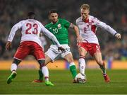 14 November 2017; Robbie Brady of Republic of Ireland in action against Pione Sisto, left and Nicolai Jørgensen of Denmark during the FIFA 2018 World Cup Qualifier Play-off 2nd leg match between Republic of Ireland and Denmark at Aviva Stadium in Dublin. Photo by Eóin Noonan/Sportsfile
