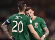 14 November 2017; James McClean, right, and Shane Duffy of Republic of Ireland after the FIFA 2018 World Cup Qualifier Play-off 2nd leg match between Republic of Ireland and Denmark at Aviva Stadium in Dublin. Photo by Seb Daly/Sportsfile