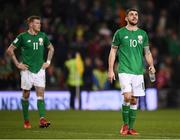 14 November 2017; Robbie Brady, right, and James McClean of Republic of Ireland following the FIFA 2018 World Cup Qualifier Play-off 2nd leg match between Republic of Ireland and Denmark at Aviva Stadium in Dublin. Photo by Stephen McCarthy/Sportsfile
