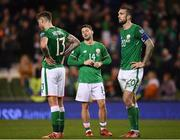 14 November 2017; Republic of Ireland players, from left, Jeff Hendrick, Wes Hoolahan and Shane Duffy following the FIFA 2018 World Cup Qualifier Play-off 2nd leg match between Republic of Ireland and Denmark at Aviva Stadium in Dublin. Photo by Stephen McCarthy/Sportsfile