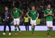 14 November 2017; Republic of Ireland players, from left, Seamus Coleman, Cyrus Christie, James McClean and Robbie Brady following the FIFA 2018 World Cup Qualifier Play-off 2nd leg match between Republic of Ireland and Denmark at Aviva Stadium in Dublin. Photo by Stephen McCarthy/Sportsfile