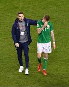 14 November 2017; Republic of Ireland's Seamus Coleman, left, consoles team-mate James McClean after the FIFA 2018 World Cup Qualifier Play-off 2nd leg match between Republic of Ireland and Denmark at Aviva Stadium in Dublin. Photo by Brendan Moran/Sportsfile