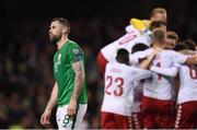 14 November 2017; Daryl Murphy of Republic of Ireland reacts following the FIFA 2018 World Cup Qualifier Play-off 2nd leg match between Republic of Ireland and Denmark at Aviva Stadium in Dublin. Photo by Stephen McCarthy/Sportsfile