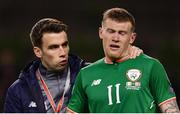 14 November 2017; Seamus Coleman, left, and James McClean of Republic of Ireland following the FIFA 2018 World Cup Qualifier Play-off 2nd leg match between Republic of Ireland and Denmark at the Aviva Stadium in Dublin. Photo by Ramsey Cardy/Sportsfile