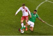 14 November 2017; Jens Stryger Larsen of Denmark is tackled by Cyrus Christie of Republic of Ireland during the FIFA 2018 World Cup Qualifier Play-off 2nd leg match between Republic of Ireland and Denmark at Aviva Stadium in Dublin. Photo by Brendan Moran/Sportsfile